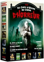 Jaquette Les chefs-d'oeuvre du cinéma d'horreur : Dr. Jekyll and Mr. Hyde + Les morts-vivants + Le cabinet du docteur Caligari + Nosferatu + Le Golem + The Lost World